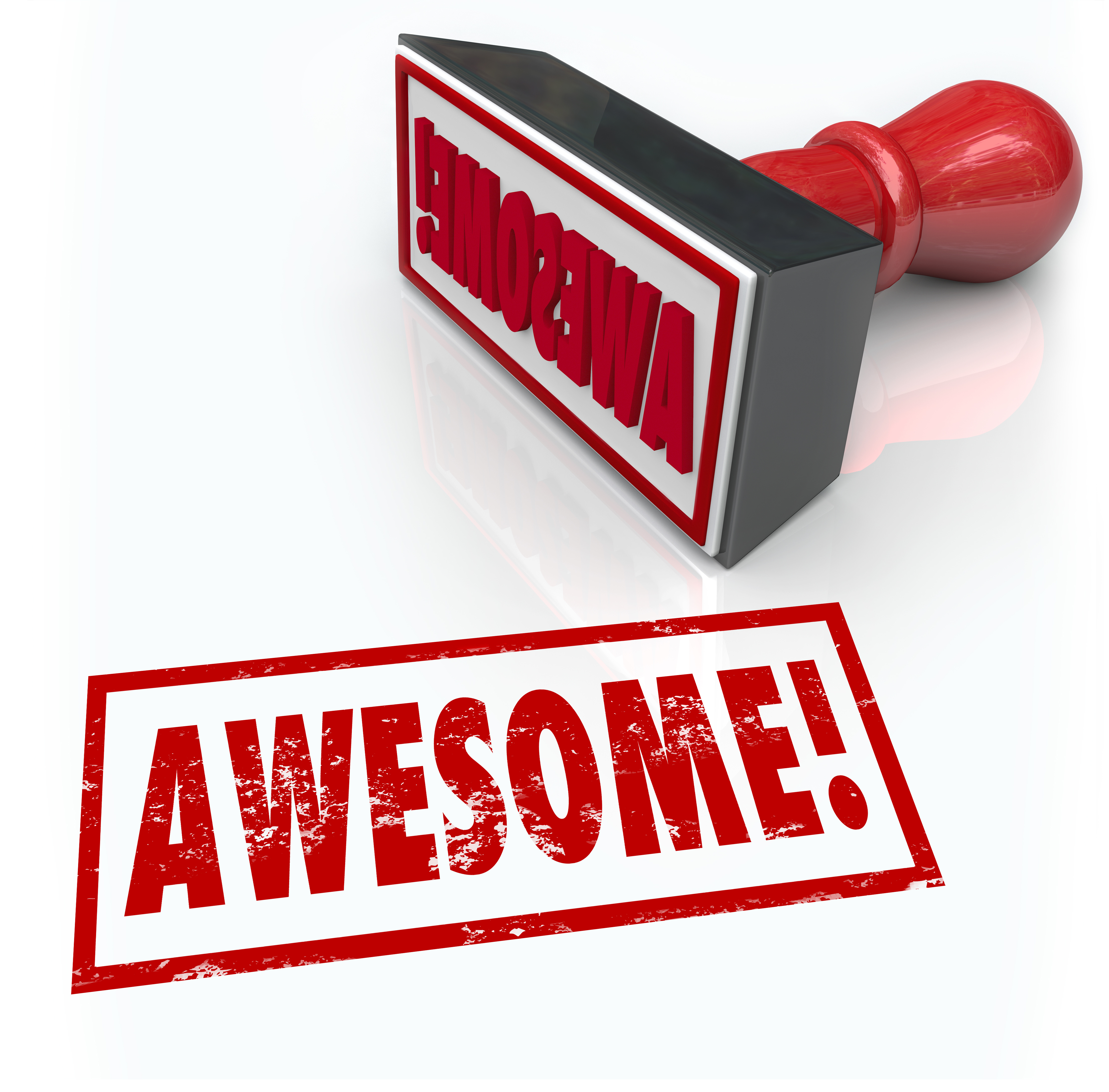 Awesome Word Rubber Stamp 3D Rating Review Feedback
