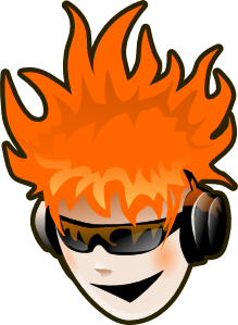 Headphones character with flame hair image