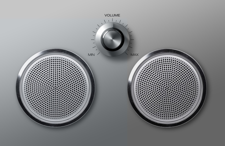 Realistic metal loudspeakers with volume knob