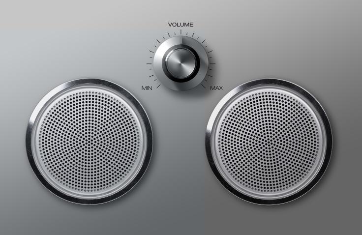 Realistic metal loudspeakers with volume knob