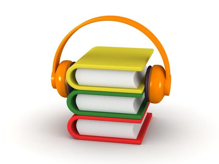 AudioBook Concept - 3D Books and Headphones