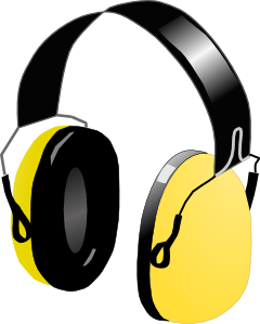 Headphones yellow cartoon image