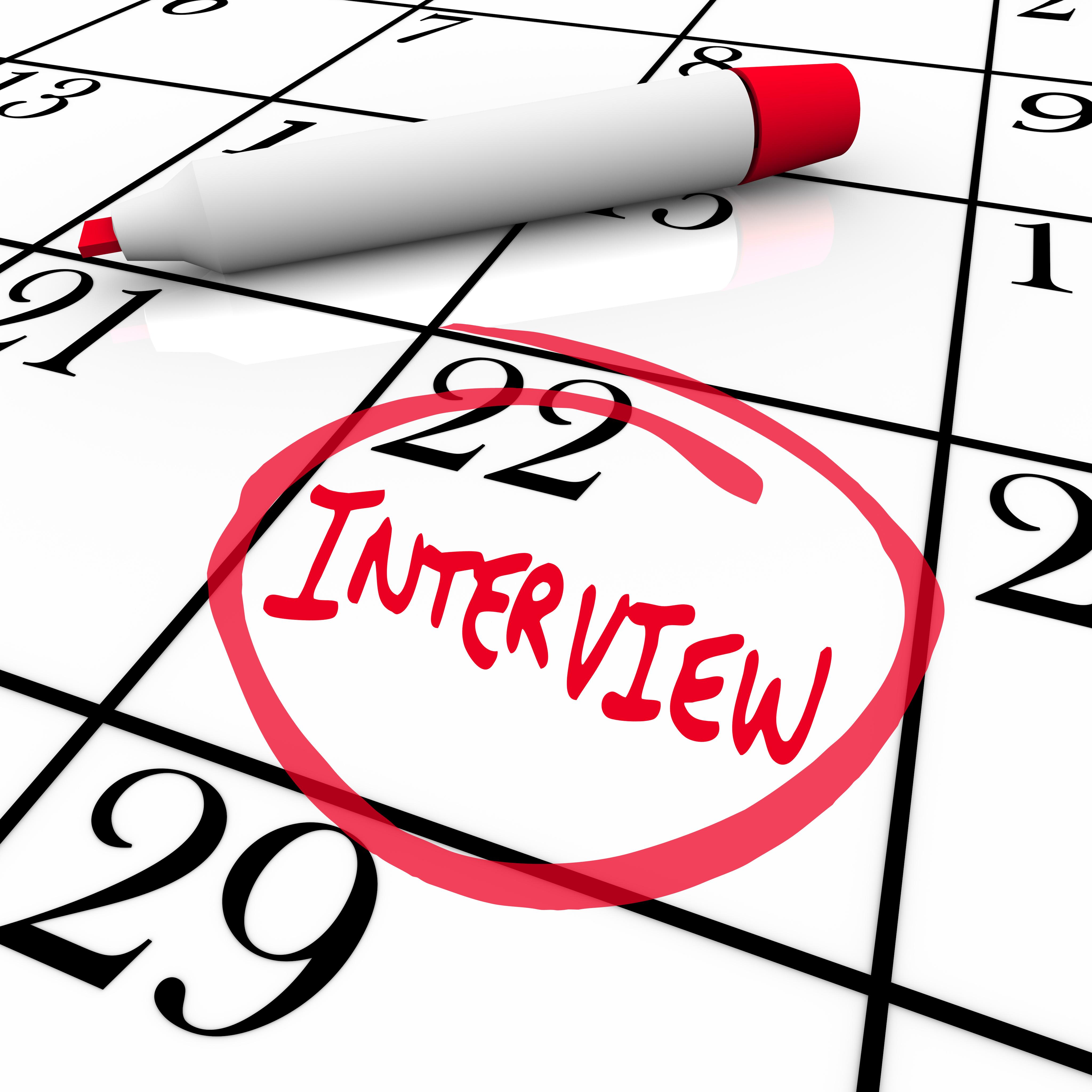 Interview Day Circled on Calendar - Meet New Employer