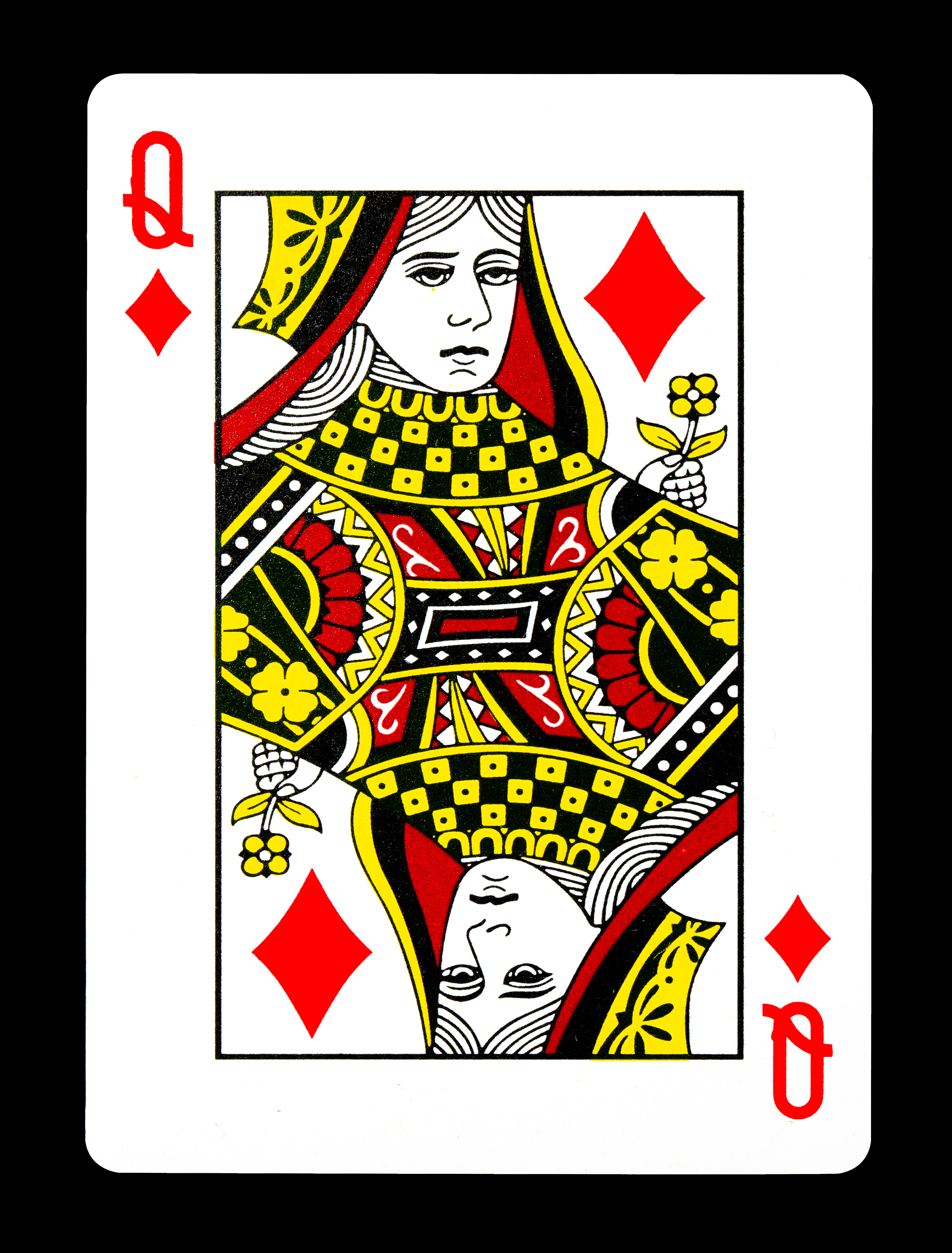 Queen of Diamonds playing card, isolated on black background.