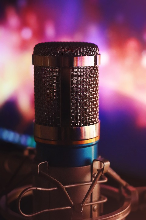 microphone with colorful background image